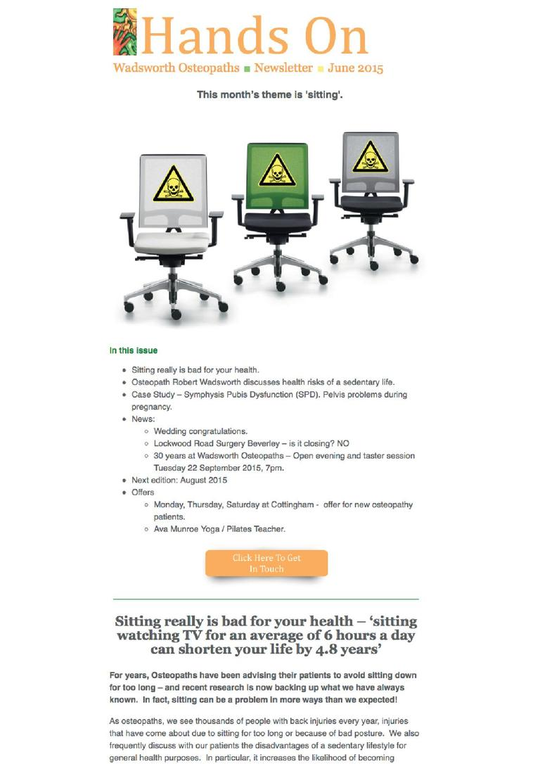 Wadsworth Osteopaths - sitting is bad for your health newsletter