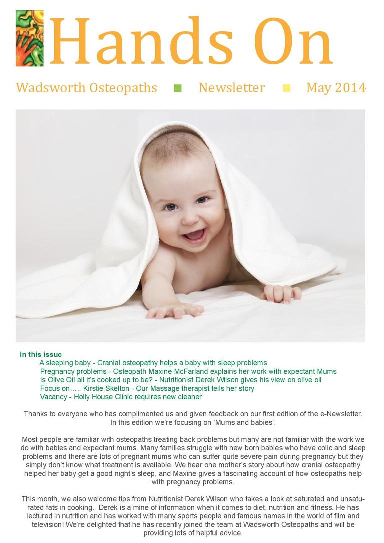 Wadsworth Osteopaths - mums & babies newsletter