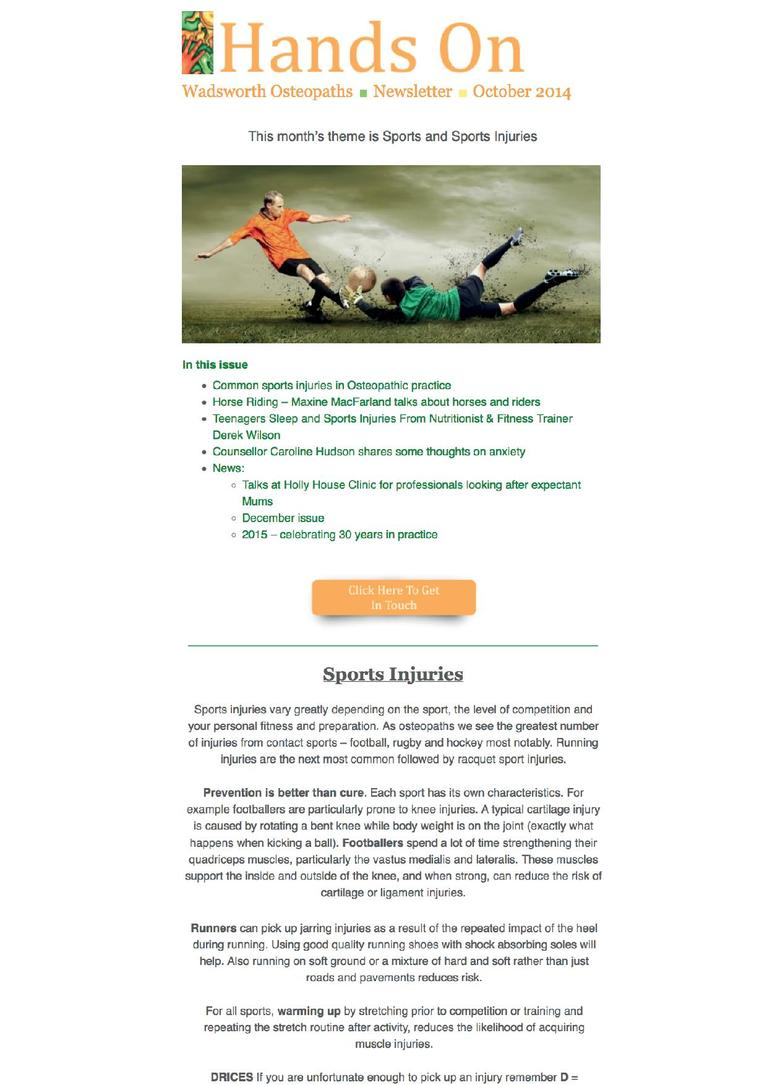 Wadsworth Osteopaths - sports injuries newsletter