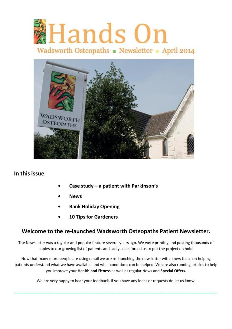 Wadsworth Osteopaths - Parkinson's disease newsletter